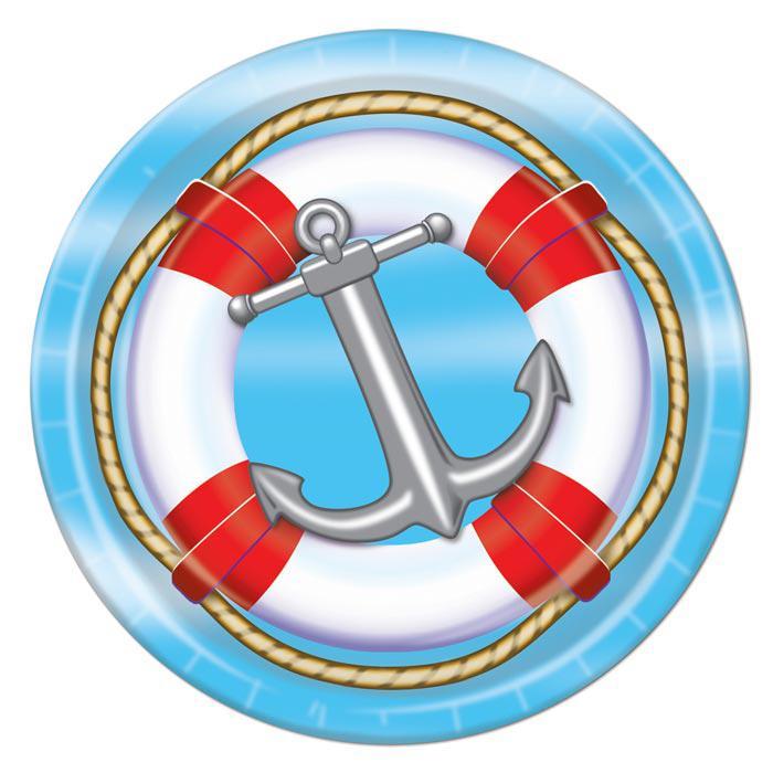 Maritime Pappteller Anker und Rettungsring