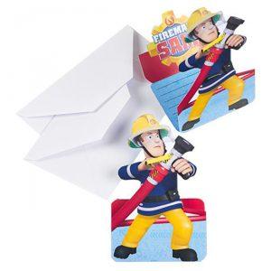 """Einladungskarten """"Feuerwehrmann Sam"""" mit Umschlag"""
