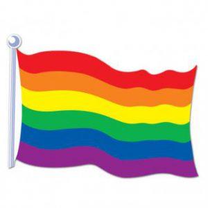 Papp-Flagge Regenbogen 44 cm