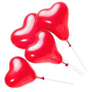 "Mini-Luftballons ""Rotes Herz"" mit Plastikstäben 5er Pack"