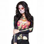 "Fotorealistisches Langarm-Shirt ""Dia de los Muertos"" M/L"