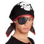 Piratenkopftuch mit Augenklappe 59 cm