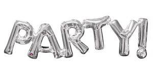 """Folienballon Schriftzug """"Party"""" 83 cm-silber"""
