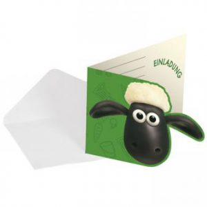 """Einladungskarten """"Shaun das Schaf"""" mit Umschlag 8er Pack"""