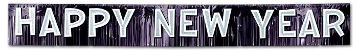 """Metallisches Fransen-Banner """"Happy new year"""" 25 cm x 2,7 m"""