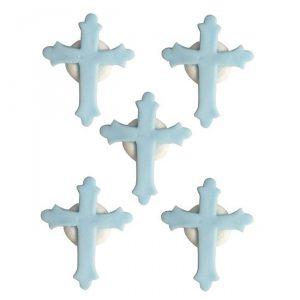 """Essbare Kuchendeko """"Farbenfrohes Kreuz"""" 5-tlg.-hellblau"""