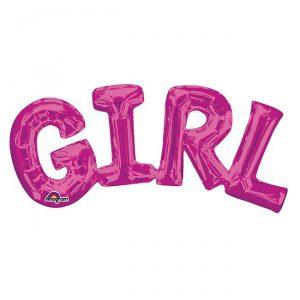 """Folienballon Schriftzug """"Girl"""" 55 cm"""