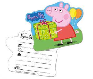 """Einladungskarten """"Peppa Wutz"""" 6er Pack"""