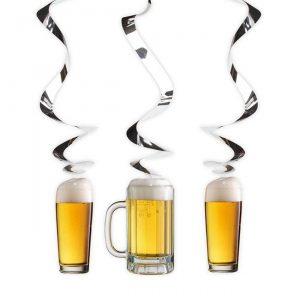 """Wirbel-Deckenhänger """"Bier"""" 3er Pack"""
